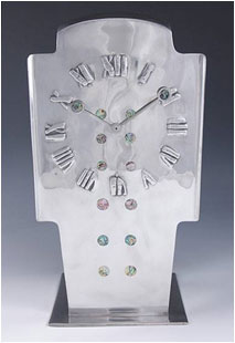 Magnificent-polished-pewter-clock