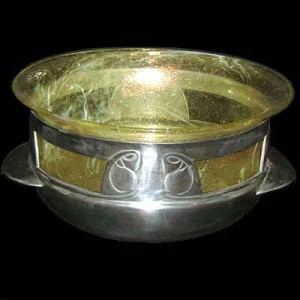 Arts & Crafts Tudric pewter and Clutha glass rosebowl by Archibald Knox for Liberty & Co (1)