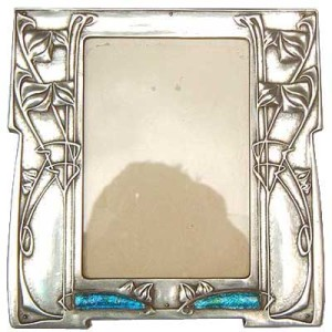Arts & Crafts Tudric pewter and enamel photo frame by Archibald Knox for Liberty & Co