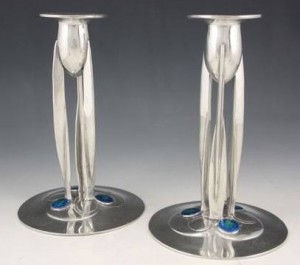 Pewter candlesticks 0223