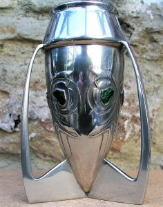 Pewter vase 0226 with green enamels