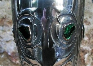 Pewter vase 0226 with green enamels close up