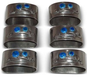 Set of Arts & Crafts Tudric pewter and enamel napkin rings by Archibald Knox for Liberty & Co (gm068gm568)