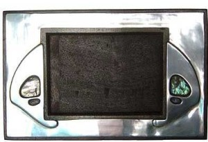 Tudric pewter and abalone photo frame by Archibald Knox for Liberty & Co
