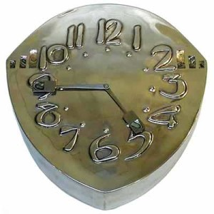Arts & Crafts Tudric pewter and abalone wall clock by Archibald Knox for Liberty & Co