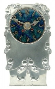 Pewter and enamel clock 0608